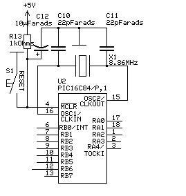 Alarm system circuit: the PIC16F84 microcontroller