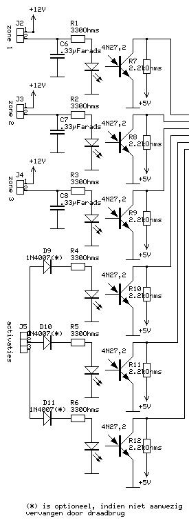 Alarm system circuit: the zone inputs