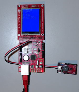 Picture of the FEZ board running an UDP server