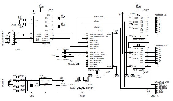 Schematic diagram for I2C bus scanner