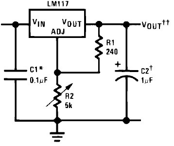 image of a standard LM317 application
