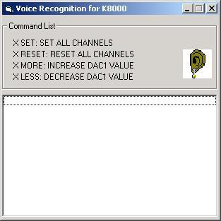 Screenshot of the K8000 speech recognition program